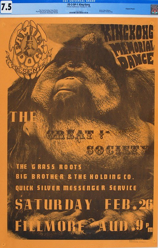 King Kong Memorial Dance Concert Poster at Fillmore